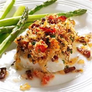 Bacon & Tomato-Topped Haddock Recipe