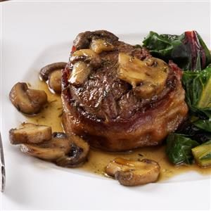 Bacon-Wrapped Filets with Scotched Mushrooms Recipe