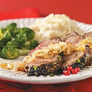Beef Roast au Poivre with Caramelized Onions Recipe