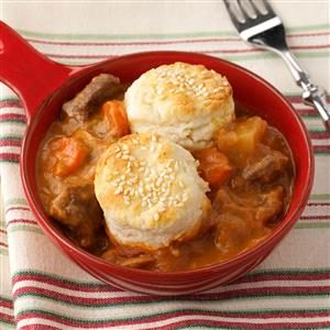 Beef Stew with Sesame Seed Biscuits Recipe