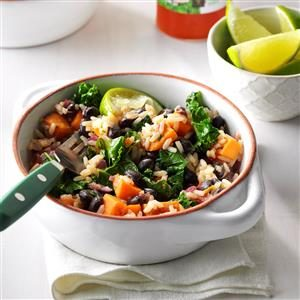 Black Bean & Sweet Potato Rice Bowls Recipe