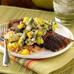 Blackened Catfish with Mango Avocado Salsa Recipe
