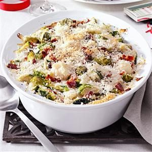 Brussels Sprouts & Cauliflower Gratin