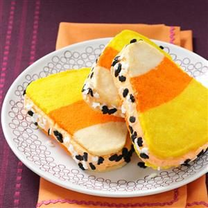 Sweet Treat: Candy Corn Ice Cream Sandwiches