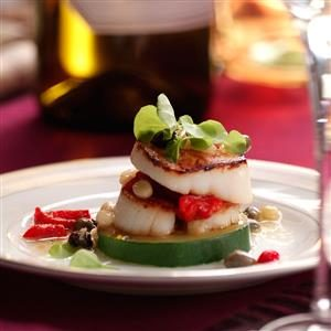 Caprese Scallop Stacks Recipe