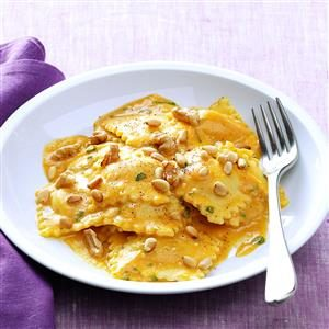 Cheese Ravioli with Pumpkin Alfredo Sauce Recipe