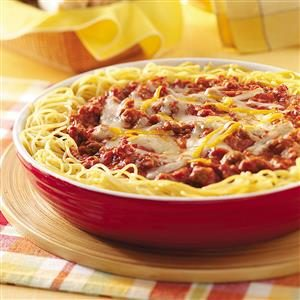 Cheesy Sausage Spaghetti Pie  Recipe