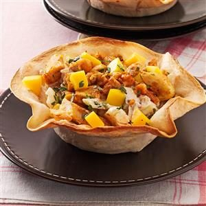 Chicken and Mango Tortilla Bowls Recipe