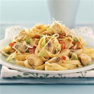 Chicken Fettuccine Alfredo with Bacon Recipe