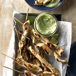 Chicken Skewers with Cool Avocado Sauce