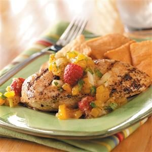 Chicken with Mango-Raspberry Salsa