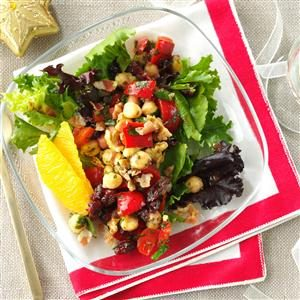 Chickpea Pancetta Salad with Cran-Orange Vinaigrette Recipe