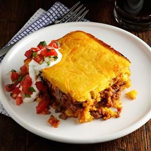 Chili Beef Corn Bread Casserole