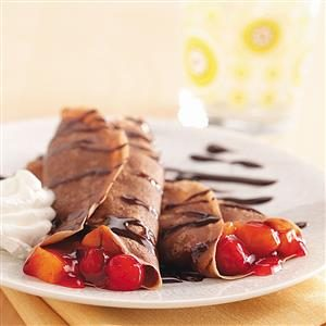 Chocolate-Fruit Crepes Recipe