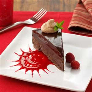 Chocolate Ganache Cake with Raspberry Sauce Recipe