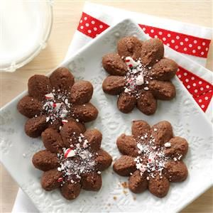 Chocolate Peppermint Spritz Cookies Recipe
