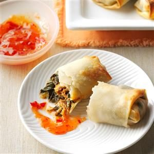 Collard Green & Pulled Pork Egg Rolls