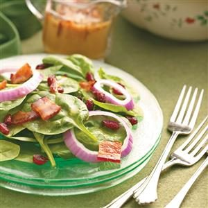 Cranberry Spinach Salad with Bacon Dressing Recipe