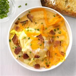 Creamy, Cheesy Grits with Curried Poached Egg Recipe