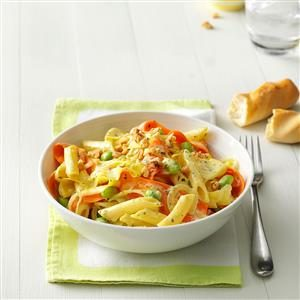 Creamy Pesto Penne with Vegetable Ribbons