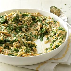 Creamy Roasted Garlic & Spinach Orzo Recipe