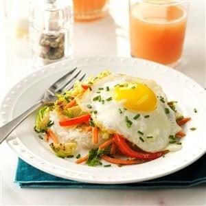 Crispy Rice Patties with Vegetables & Eggs Recipe