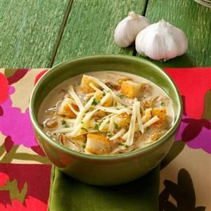 Crouton-Topped Garlic Soup for Two Recipe