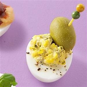 Dazzling Dirty Martini Deviled Eggs