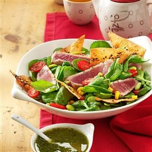 Dee's Grilled Tuna with Greens Recipe