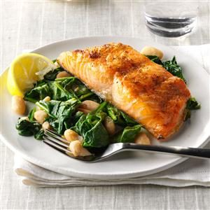 Salmon with Spinach & White Beans Recipe