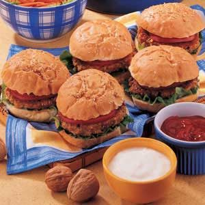 Cheesy Walnut Burgers Recipe
