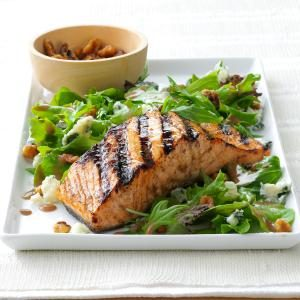Salmon Salad with Glazed Walnuts Recipe