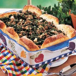 Spinach Beef Biscuit Bake Recipe