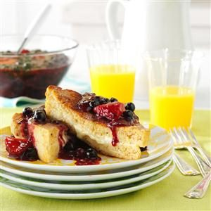 Mascarpone-Stuffed French Toast with Triple Berry Topping