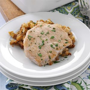 Quicker Pork Chops Over Stuffing Recipe
