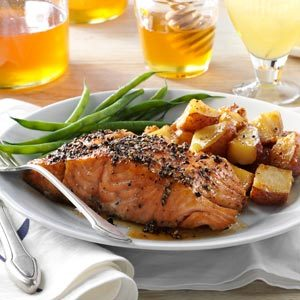 Smoked honey peppercorn salmon recipe taste of home for Honey smoked fish