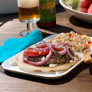 Feta & Tomato-Topped Greek Burgers Recipe