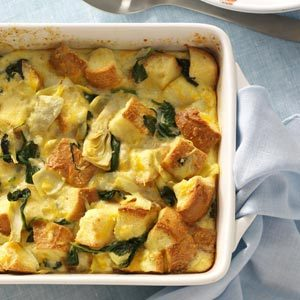 Spinach and Artichoke Bread Pudding Recipe