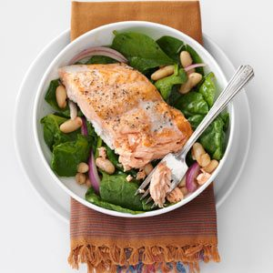 Roasted Salmon & White Bean Spinach Salad Recipe