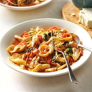 Grecian Pasta & Chicken Skillet Recipe
