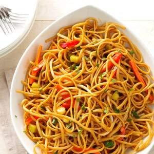 Thai Pasta with Spicy Peanut Sauce Recipe