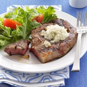 Grilled Ribeyes with Blue Cheese Butter Recipe