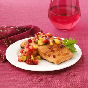 Chipotle Salmon with Strawberry Mango Salsa Recipe