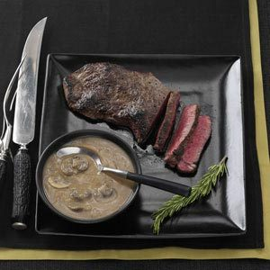 Sirloin Steak with Rich Mushroom Gravy Recipe