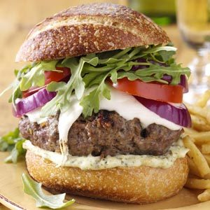 Tuscan Burgers with Pesto Mayo Recipe