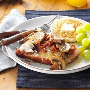 Ham Steaks with Gruyere, Bacon & Mushrooms