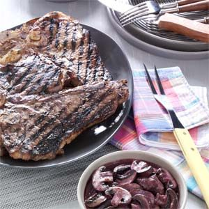 Garlic-Rubbed T-Bones with Burgundy Mushrooms