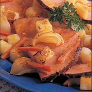 Sliced Ham with Roasted Vegetables Recipe