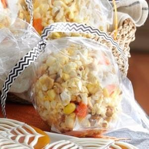 Candy Corn & Peanut Popcorn Balls Recipe