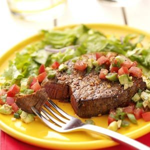 Peppered Steaks with Salsa Recipe